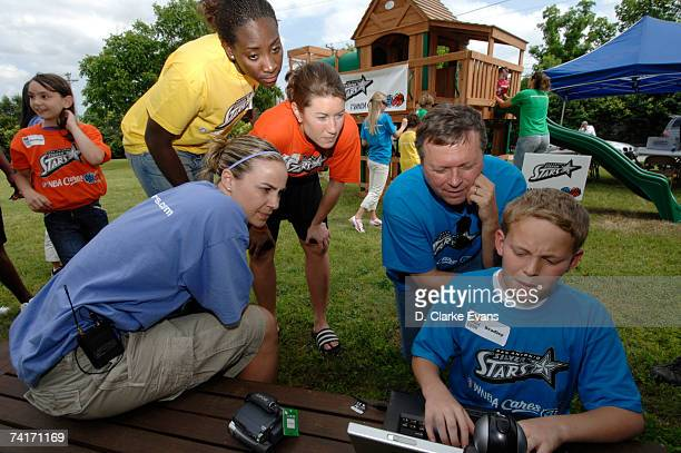 Sophia Young Becky Hammon Shanna ZolmanCrossley and Head Coach Dan Hughes watch Bradley Jensen talk to his father via the internet Capt Ralph Jensen...
