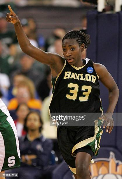 Sophia Young of the Baylor Lady Bears celebrates after making a basket in the second half of their win over the Michigan State Spartans in the 2005...