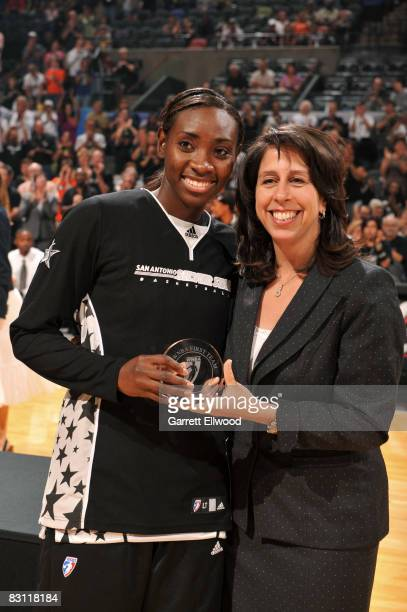 Sophia Young of the San Antonio Silver Stars is presented 2008 All WNBA First Team by Donna Orender WNBA President prior to Game Two of the WNBA...
