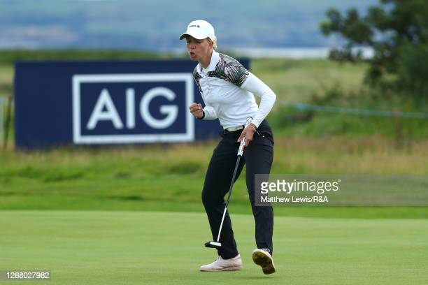 SophiaPopov of Germany celebrates after putting a birdie on the 16th green during Day Four of the 2020 AIG Women's Open at Royal Troon on August 23,...
