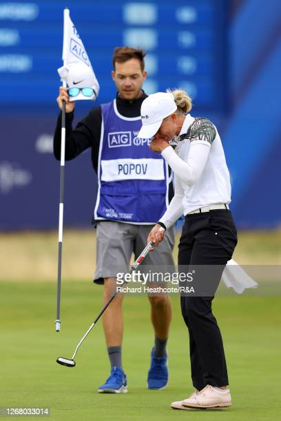 SophiaPopov of Germany celebrates holing the winning putt on the 18th green to secure victory during Day Four of the 2020 AIG Women's Open at Royal...