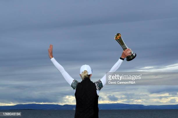 SophiaPopov of Germany celebrates with the trophy following victory in the final round on Day Four of the 2020 AIG Women's Open at Royal Troon on...