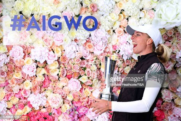SophiaPopov of Germany celebrates with the trophy following victory in the final round during Day Four of the 2020 AIG Women's Open at Royal Troon...