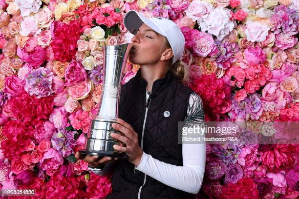 SophiaPopov of Germany kisses the trophy following victory in the final round on Day Four of the 2020 AIG Women's Open at Royal Troon on August 23...
