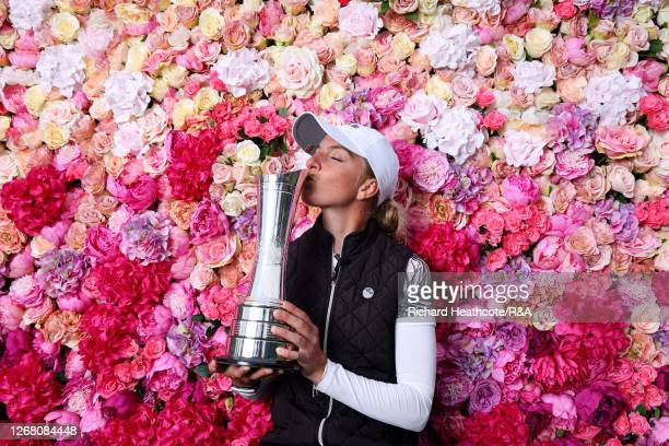 SophiaPopov of Germany kisses the trophy following victory in the final round on Day Four of the 2020 AIG Women's Open at Royal Troon on August 23,...