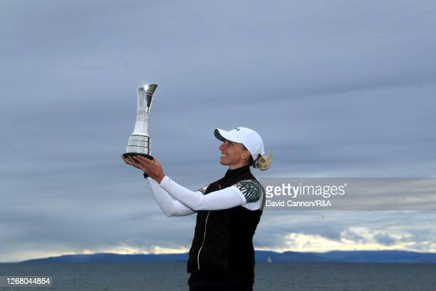 SophiaPopov of Germany lifts the trophy following victory in the final round on Day Four of the 2020 AIG Women's Open at Royal Troon on August 23,...