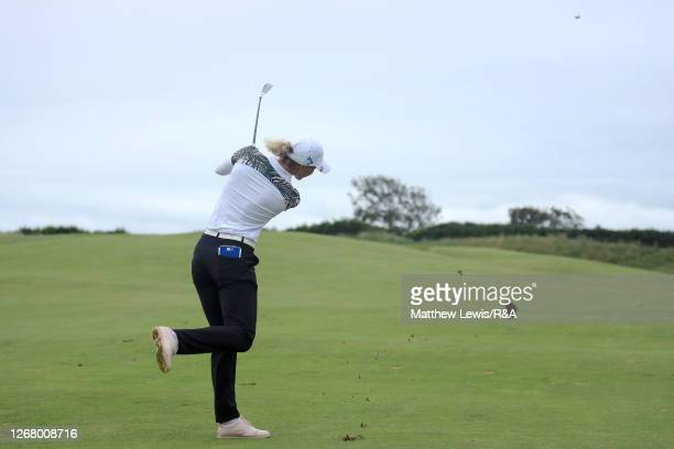 SophiaPopov of Germany plays her second shot on the 9th hole during Day Four of the 2020 AIG Women's Open at Royal Troon on August 23, 2020 in...