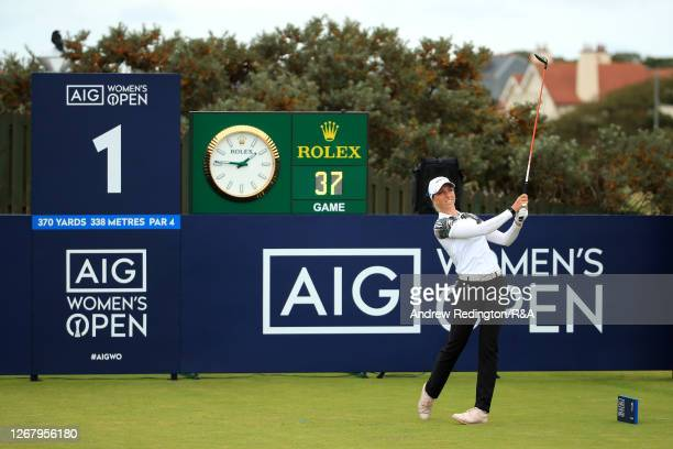SophiaPopov of Germany plays her shot off the 1st tee during Day Four of the 2020 AIG Women's Open at Royal Troon on August 23, 2020 in Troon,...