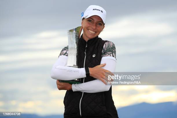 SophiaPopov of Germany poses with the trophy following victory in the final round on Day Four of the 2020 AIG Women's Open at Royal Troon on August...