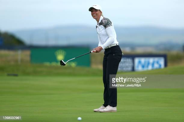 SophiaPopov of Germany reacts after missing a putt on the 18th green during Day Four of the 2020 AIG Women's Open at Royal Troon on August 23, 2020...