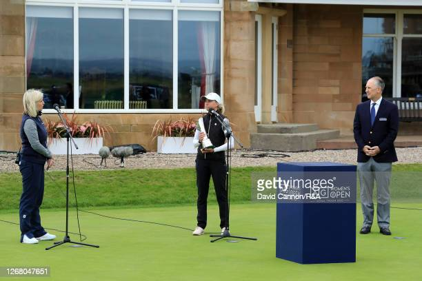 SophiaPopov of Germany stands holding the trophy as she is interviewed by Sky Sports Presenter Sarah Stirk following the final round on Day Four of...