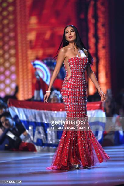 Sophida Kanchanarin of Thailand competes after being selected as top 10 finalists during the 2018 Miss Universe Pageant in Bangkok on December 17...