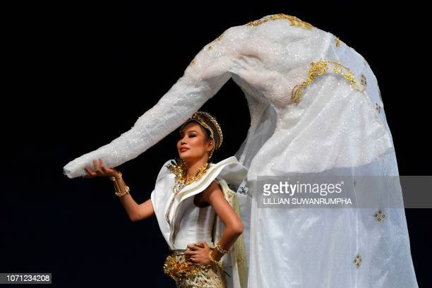 Sophida Kanchanarin of Thailand poses on stage during the 2018 Miss Universe national costume presentation in Chonburi province on December 10 2018