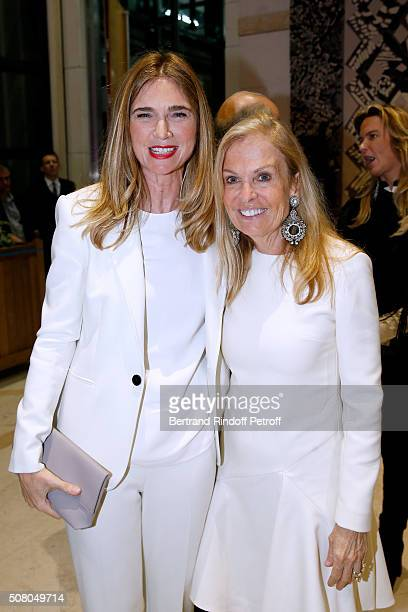 Sophie Agon and United States Ambassador to France, Jane D. Hartley attend President of l'Oreal Jean-Paul Agon receives Insignia of Officer of the...