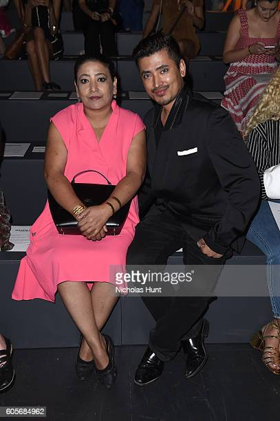 Sophie Ambroase and Global Luxury Brand Ambassador Pritan Ambroase attend the Naeem Khan fashion show during New York Fashion Week The Shows at The...