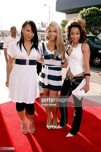 Sophie Amina and Jazz of the group Black Buddafly arrive at Rogue Pictures premiere of Waist Deep held at the Cinerama Dome on June 15 2006 in...