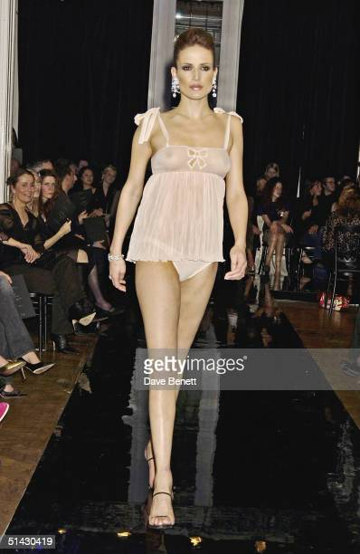 Sophie Anderton models for The La Perla Lingerie and De Beers Charity Fashion Show in aid of Cancer Research UK on February 4 2004 in London