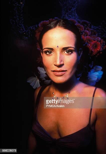 Sophie Anderton wearing lowcut top in London club UK 1999