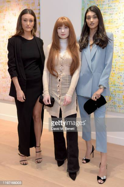 Sophie Ann Elton Nicola Roberts and Neelam Gill attend the launch of Galerie BehnamBakhtiar and the private view of 'Human Being Being Human' by...