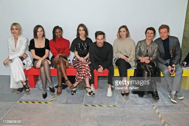 Sophie Ball Anna Brewster Dina AsherSmith Lizzy Caplan Tom Riley Laura Carmichael Helen McCrory and Damian Lewis attend the Christopher Kane show...