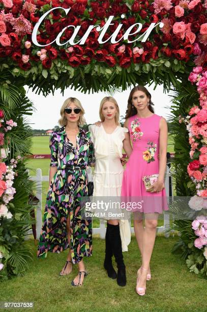 Sophie Ball Isabel Getty and Lady Sabrina Percy attend the Cartier Queen's Cup Polo at Guards Polo Club on June 17 2018 in Egham England