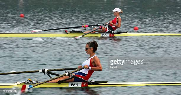Sophie Balmary of France and Julia Michalska of Poland compete at the start of the women's single sculls held at Shunyi Olympic RowingCanoeing Park...
