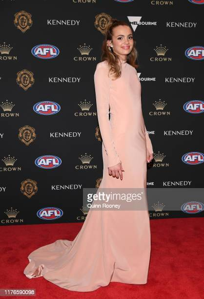Sophie Barbour the partner of Connor Rozee arrives ahead of the 2019 Brownlow Medal at Crown Palladium on September 23 2019 in Melbourne Australia
