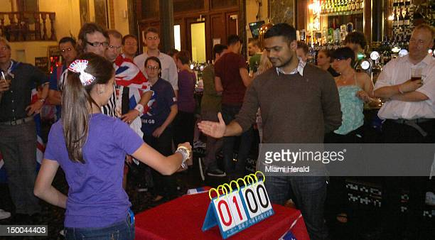 Sophie Barry representing San Marino takes on a player from Team Great Britain in the International Rock Paper Scissors Team Championships at a...