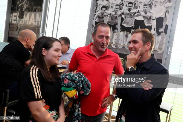 Sophie Bein Uwe Bein and Philipp Lahm are seen during the Club Of Former National Players Meeting at BayArena on June 8 2018 in Leverkusen Germany