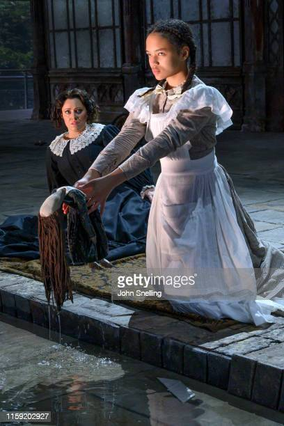 Sophie Bevan as The Governess and Adrianna ForbesDorant as Flors perform on stage during the dress rehearsal of Benjamin Britten's Turn of the Screw...