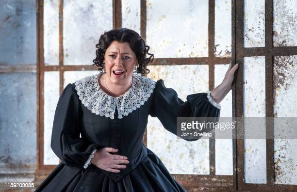 Sophie Bevan as The Governess performs on stage during the dress rehearsal of Benjamin Britten's Turn of the Screw at Garsington Opera at Wormsley on...