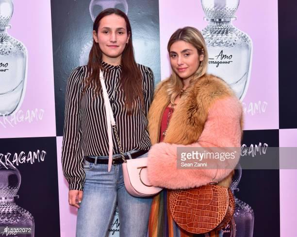 Sophie Bickley and Charlotte Bickley attend Salvatore Ferragamo Suki Waterhouse celebrate AMO Ferragamo on February 6 2018 in New York City