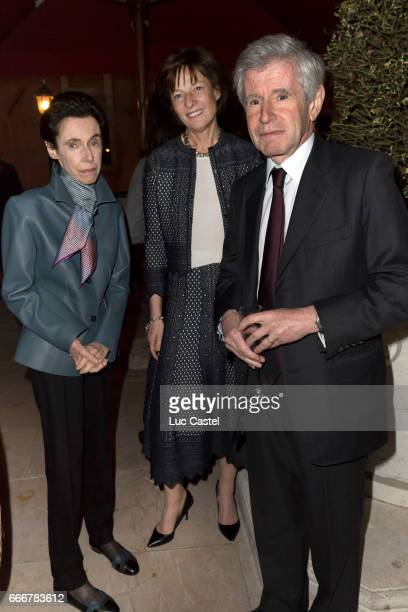 Sophie Boisrond Patricia Barbizet and Alain Minc attend the opening of Damien Hirst 'Treasures From The Wreck Of The Unbelievable' new exhibition on...