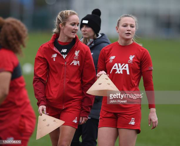 Sophie BradleyAuckland captain and Jemma Purfield of Liverpool Women during a training session at Solar Campus on January 31 2020 in Wallasey England