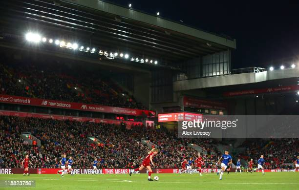 Sophie BradleyAuckland of Liverpool passes the ball during the Barclays FA Women's Super League match between Liverpool and Everton at Anfield on...