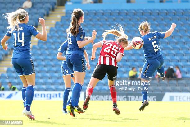 Sophie Bradley-Auckland of Sheffield United has a headed shot before Jess Clarke of Sheffield United scores their side's third goal whilst under...