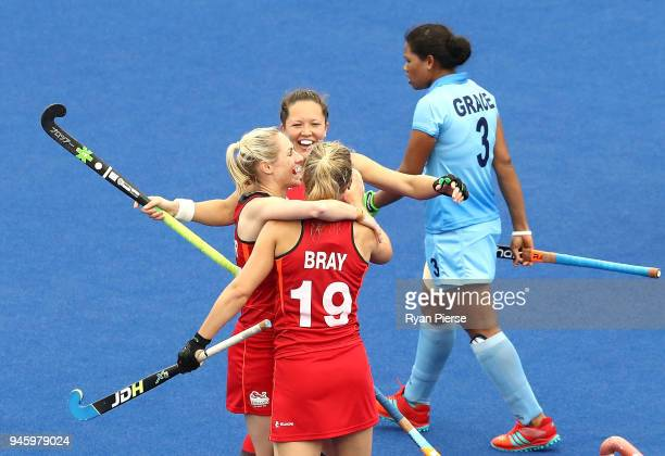 Sophie Bray of England celebrates with team mates after scoring her teams second goal during the Women's Bronze Medal match between England and India...