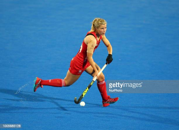 Sophie Bray of England Womenduring FIH Hockey Women's World Cup 2018 Day Four match Pool B game 12 between USA and England at Lee Valley Hockey &...