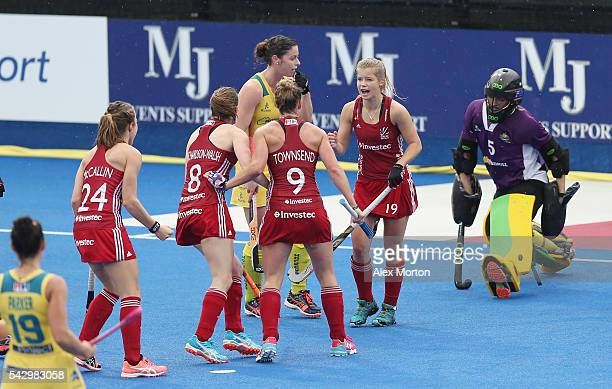 Sophie Bray of Great Britain celebrates after scoring their first goal during the FIH Women's Hockey Champions Trophy match between Great Britain and...