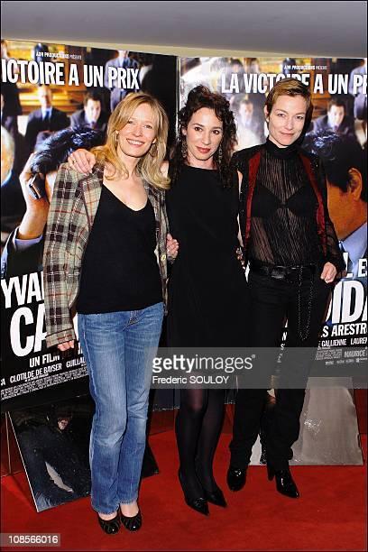 Sophie Broustal Isabelle Le Nouvel and Stefania Rocca at 'Le Candidat' premiere in Paris France on April 10 2007