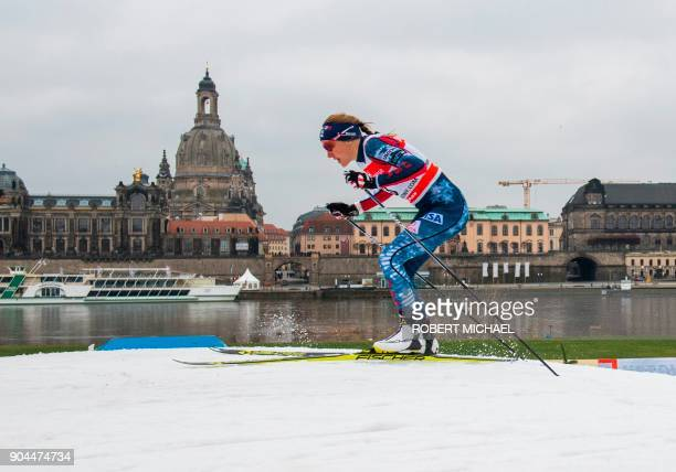 US Sophie Caldwell competes in women's 12 km sprint quarter final race of the FIS World Cup in Dresden eastern Germany on January 13 2018 / AFP PHOTO...
