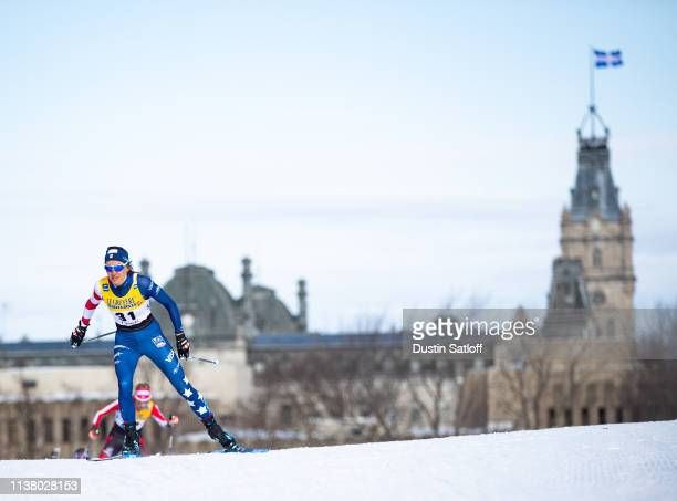 Sophie Caldwell of the United States competes in the Women's 10km freestyle pursuit during the FIS Cross Country Ski World Cup Final on March 24,...