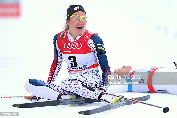 Sophie Caldwell of USA celebrates winning the Ladies 12km Classic Sprint Competition during day 1 of the FIS Tour de Ski event on January 5 2016 in...