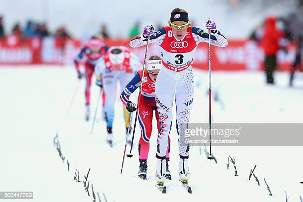 Sophie Caldwell of USA wins the Ladies 12km Classic Sprint Competition during day 1 of the FIS Tour de Ski event on January 5 2016 in Oberstdorf...