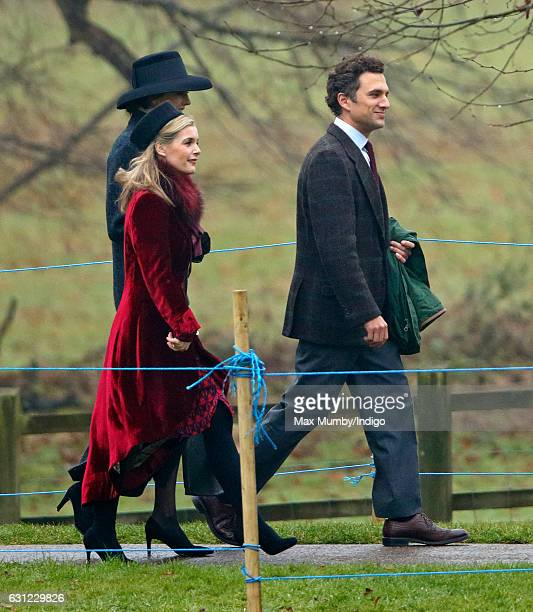 Sophie Carter and Thomas van Straubenzee attend the Sunday service at St Mary Magdalene Church, Sandringham on January 8, 2017 in King's Lynn,...