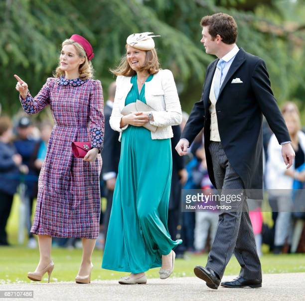 Sophie Carter, Lady Laura Meade and James Meade attend the wedding of Pippa Middleton and James Matthews at St Mark's Church on May 20, 2017 in...