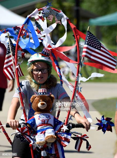 Sophie Cleveland 10 yearsold finsisht eh bike parade at the annual Northglenn July 4th Festival on July 4 2017 at EB Rains Jr Memorial Park Sophie...