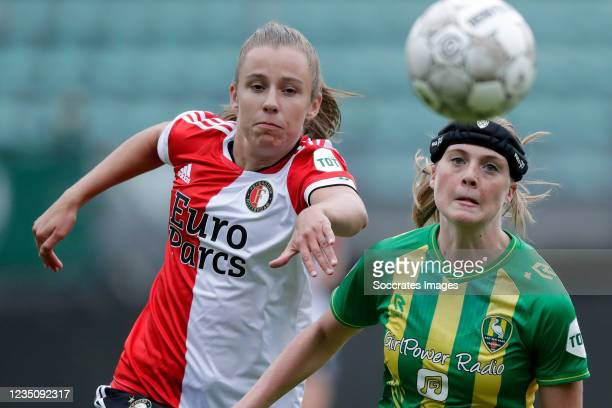 Sophie Cobussen of Feyenoord Women, Wielle Douma of ADO den Haag Women during the Dutch Eredivisie Women match between ADO Den Haag v Feyenoord at...