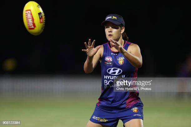 Sophie Conway catches during a Brisbane Lions AFL training session at Leyshon Park on January 15 2018 in Brisbane Australia