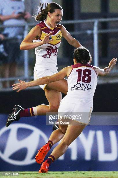 Sophie Conway of the Lions celebrates a goal during the round three AFLW match between the Carlton Blues and the Brisbane Lions at Ikon Park on...